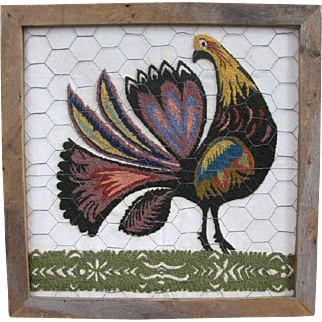 Needlepoint Needlecraft Hooked Chicken Pearl Mcgown Design Folk Art Picture