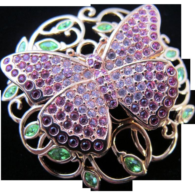 Gorgeous Swarovski Crystal Rhinestone Pave Butterfly Pin Sold On Ruby Lane