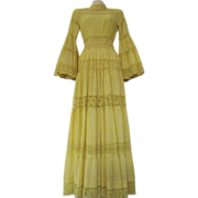 Vintage 70s 1970s Bright Yellow Lace Cut Out Cotton Festival Dress Frida Kahlo Style Ethnic Tribal