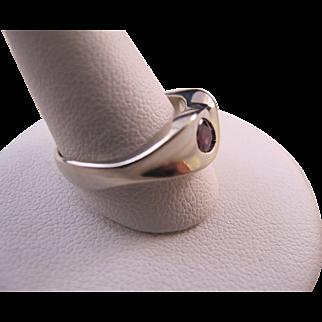 Vintage 14K White Gold and Natural Ruby Modernist Ring Resco