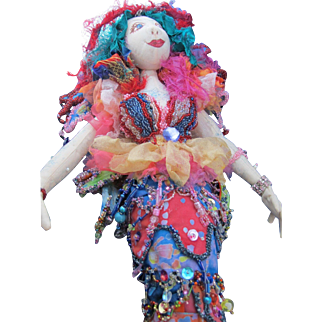 Nearly Unbelievable Mermaid Cloth Doll with Elaborate Beading