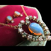 Vintage 14K Gold Natural Opal Diamond Emerald Heart Pendant Necklace Earrings Set