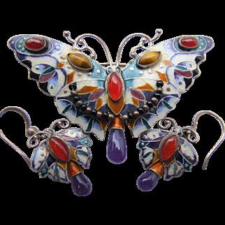 Vintage 925 Silver Enamel Butterfly Pin Earring Set