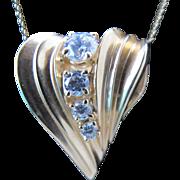 Vintage Huge Bling 14K Yellow Gold Modernist Heart Slide Pendant Charm for Necklace Neck Chain or Huge Bracelet