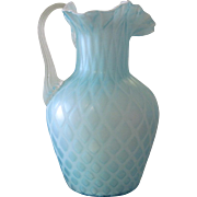 Antique Soft Blue Quilted Diamond Pattern Satin Glass Pitcher with Ruffle Rim