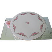 Antique German Footed Cake Stand Plate with Garlands and Pink Roses