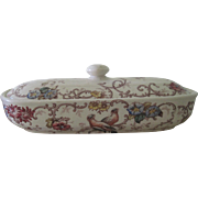 Antique French Ceramic Transferware Covered Soap Dish Bird and Flower Bathroom