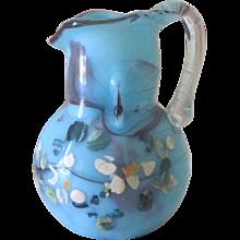 Antique Miniature Blown Glass Dollhouse Pitcher w/ Handpainted Flowers