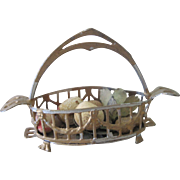 Antique Miniature Dollhouse German Gilt and Soft Metal Ornate Basket W/ Fruit