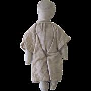 Antique 19th c Miniature Hand Made Primitive Cloth Folk Art Doll