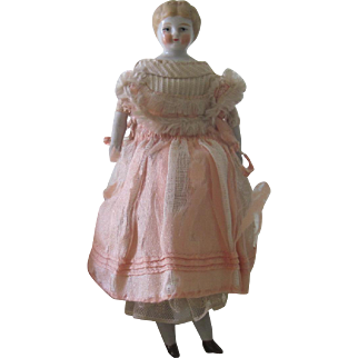 Antique German Miniature Blonde China Head Dollhouse Doll 6""