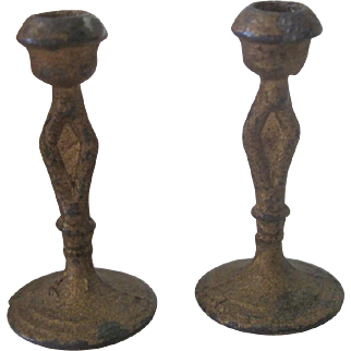 Antique Pair Miniature Gold Dollhouse Candleholders