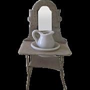 Antique Miniature Metal Dollhouse Wash Stand w/ Mirror