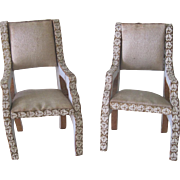 Antique French Pair of Miniature Dollhouse Wood and Silk Parlour Chairs
