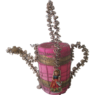 Antique German Victorian Pink glass and Wire Wrapped Watering Can Christmas Ornament Decoration