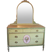 Vintage French Style Hand Painted Floral Mirrored Dresser Chest of Drawers C1930