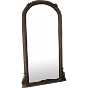 Antique French Wood and Gesso Decorative Floor Mirror c1900