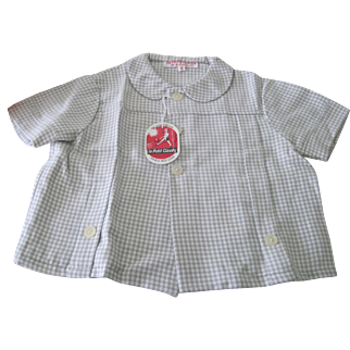 Vintage French 1960's Old Store Stock Little Girl's Gingham Check Blouse Top Size 4 Years Doll