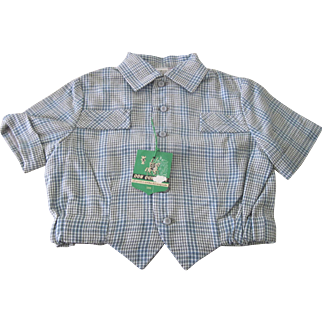 Vintage French 1960's Old Store Stock Little Boy's Shirt Size 2 Years Doll