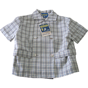 Vintage French 1960's Old Store Stock Little Boy's  Herringbone Shirt  Size 4 Years Doll