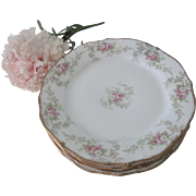 "Antique French Limoges Elite Works Porcelain Floral Rose 6"" Dessert Plates Gold Trim Set of 4"
