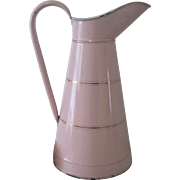 Antique French Pink w/ Gold Bands x Large Enamelware Body Pitcher c1900