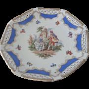 Vintage German Romantic 18thc style Porcelain Openwork Plate