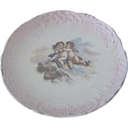 Old German Romantic Porcelain Plate w/Putti/Cupids/Angels
