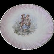 Old German Porcelain 18thc Style Plate w/ Romantic Couple