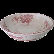 Antique French Art Nouveau Ceramic Transferware Bowl Basin Floral