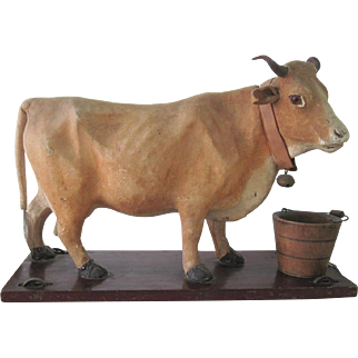 Antique German Cow Pull Toy Doll Accessory Leather Over Papier Mache