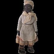Antique Primitive Hand Stitched Cloth Black Doll w/ Original Clothing