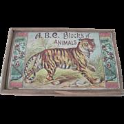 Antique Children's Lithographed Animal Blocks Puzzle Toy in Original Wood Box