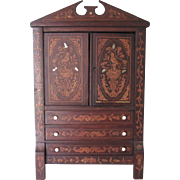 "Antique Dutch 23"" Miniature Marquetry Doll Cabinet Armoire French Bisque Bebe' Fashion"