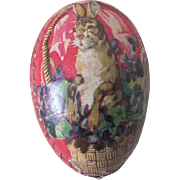 Old German Lithographed Easter Egg Candy Container w/ Taxidermy Chick