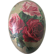 Old German Lithographed Easter Egg Candy Container with Roses