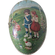 Old German Lithographed Easter Egg Candy Container w/ Children and Toys