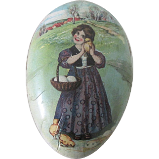 Old German Lithographed Easter Egg Candy Container