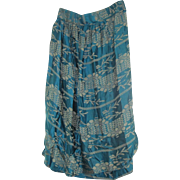 Antique Edwardian Skirt Blue and Gold Silk Damask C1910 Size Large