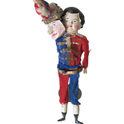 Antique Wood and Papier Mache Mechanical Jester Clown Doll Toy