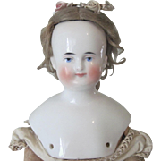 Antique German Biedermeier China Shoulder Head Doll with Wig c1850