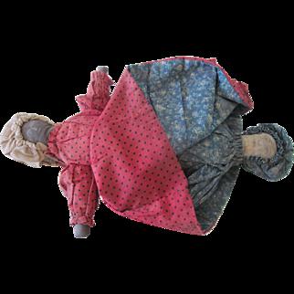Antique 19th C Hand Sewn Primitive Cloth Topsy Turvy Rag Doll