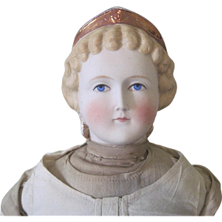 Antique Parian Doll w/ Fancy Hairdo Tiara and Earrings c1870 w/ Provenance