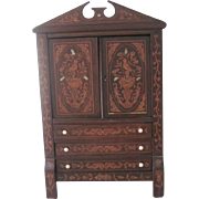 "Antique Dutch 23"" Miniature Marquetry Doll Cabinet Armoire French Fashion Bebe' c1870"