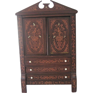 """Antique Dutch 23"""" Miniature Marquetry Doll Cabinet Armoire French Fashion Bebe' c1870"""