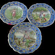 Antique Hand Painted Porcelain Austrian Bruder Schwalb Carlsbad Cabinet Plate Set c1880