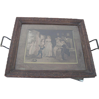 Antique French Wood Serving Tray w/18thc Print Under Glass c1890