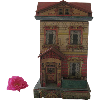 """Antique Victorian Lithographed Small Dollhouse 14"""" c1910"""