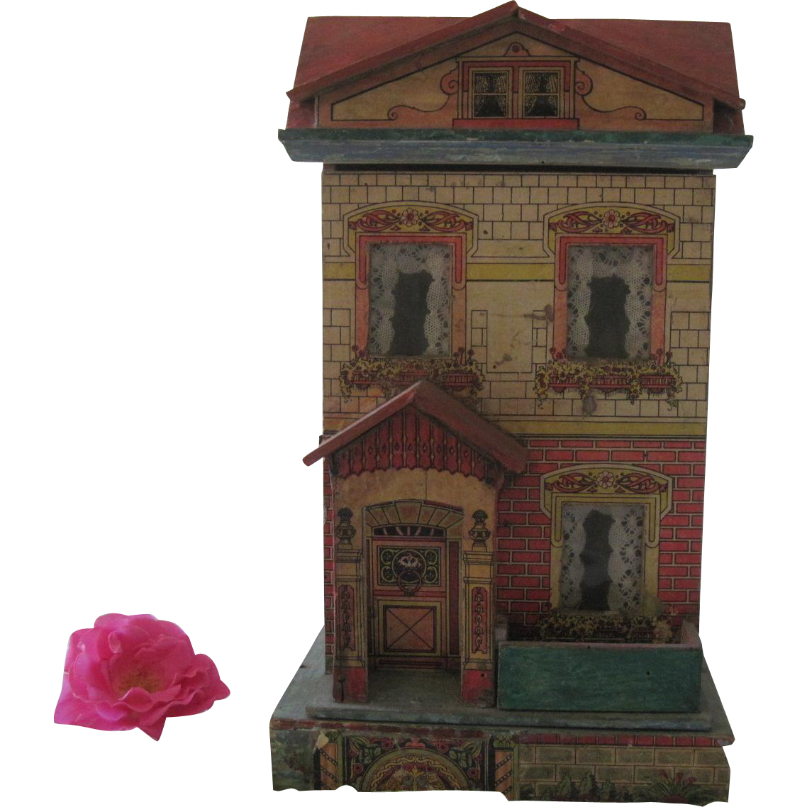 """Antique Victorian Lithographed Small Dollhouse 14"""" c1910 ..."""