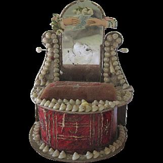 Antique Victorian Miniature English Souvenir Shell Dollhouse Dresser c1900